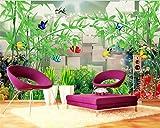 Xcmb 3D Mode Dreidimensionale Malerei Tapete Bambus Wasser Bambus Festen Hintergrund Wandmalerei-200Cmx140Cm