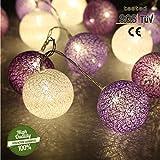 Morbuy Lichterkette mit 20 Baumwollkugeln, Batteriebetrieben Warmweiß Cotton Ball Lichter LED Party Themen Weihnachten Kinderzimmer Nachtlicht Dekorationen Lila