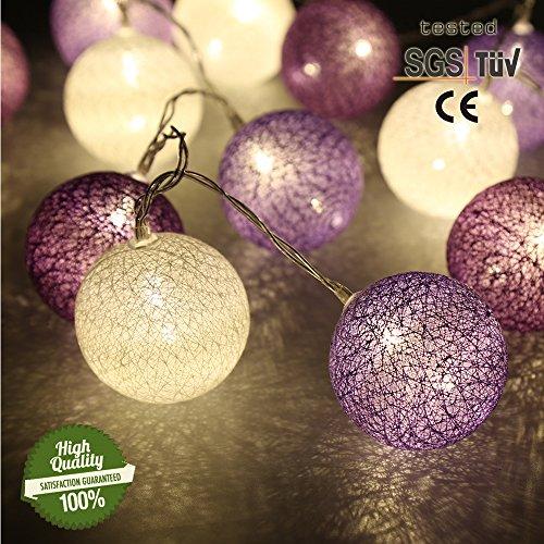 Morbuy Lichterkette mit 30 Baumwollkugeln, Batteriebetrieben Warmweiß Cotton Ball Lichter LED Party Themen Weihnachten Kinderzimmer Nachtlicht Dekorationen (4.8M / 30 Lichter, Purple Star)