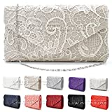 Womens Satin Wocharm(TM)Lace Clutch Bag Evening Bridal Bag Wedding Fashion Prom Vintage UK (White)