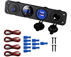 Thlevel Panel de Enchufes 4 en 1, con Doble Cargador USB y Voltímetro de LED y Encendedor de Cigarrillos y LED Azul Interrupt
