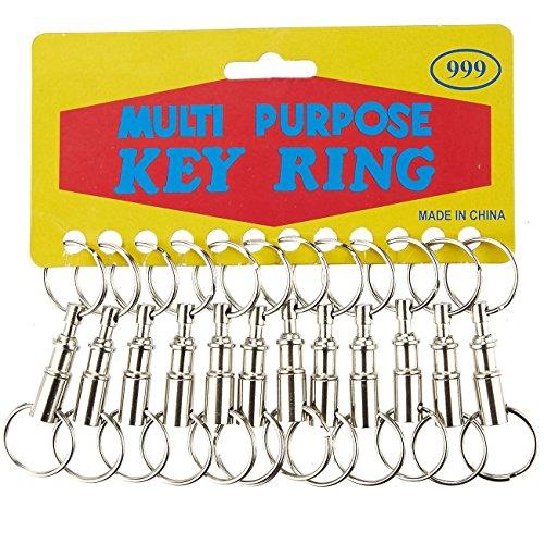 Doppel-brieftasche (Schlüsselanhänger, abnehmbar, 12er Set, Doppel-Schnellspanner, Schlüsselanhänger, mit Schnappverschluss, Silber, 8,1 x 6,4 x 2 cm)