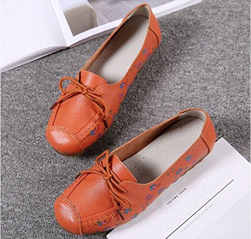 Lacets Orange Hishoes Mocassins Plates Loafers Confort Cuir Conduite rqrCfS5y