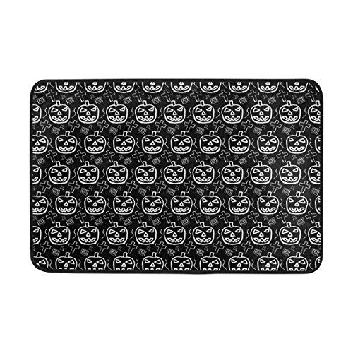 COOSUN Hand-Skektierte Scary Halloween Kürbis-Muster Fußmatte, Eintrag Weg Indoor Outdoor Tür Teppich mit Rutschfeste Unterstützung, (23,6 von 15,7-Zoll)