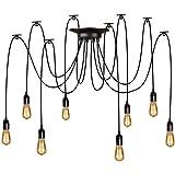 Asvert LED Lampe Araignée Luminaire Suspension Industrielle Vintage DIY Ajustable Multi Cordes Eclairage Plafonnier Lustre Su