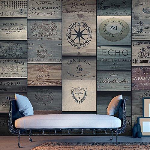 murando - PURO TAPETE - Realistische Tapete ohne Rapport und Versatz - Kein sich wiederholendes Muster - 10m Vlies Tapetenrolle - Wandtapete - modern design - Fototapete - Textur Holz Bretter Aufschrift f-A-0540-j-d
