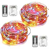 2 Set Led String Lights Battery Operated Fairy Lights with Remote Timer Copper Wire String Lights 8 Modes 5M 50 LED Starry String Lights for DIY Project Festival Party Garden Centerpiece Girls Bedroom Christmas Decoration-Multi Colour