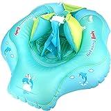 Luchild Zwemvlieger voor baby's, zwemring met zitje, kindervlottertjes, verstelbare opblaasbare babyzwembadvlotter met handpo
