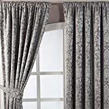 """Homescapes Grey Super Luxury Velvet Jacquard Pencil Pleat Lined Curtains Pair 167cm (66"""") Width x 182cm (72"""") Drop. Heavy Weight Thermal Block Out Property. FREE SWATCHES"""