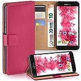 moex Samsung Galaxy S7 | Hülle Pink mit Karten-Fach 360° Book Klapp-Hülle Handytasche Kunst-Leder Handyhülle für Samsung Galaxy S7 Case Flip Cover Schutzhülle Tasche