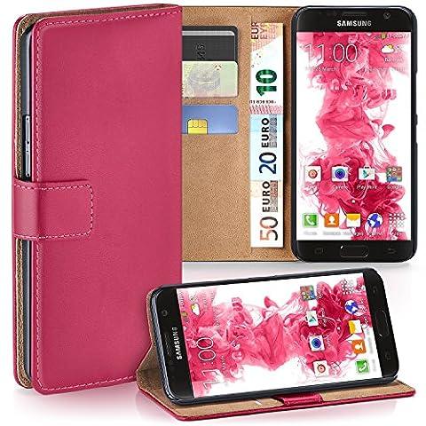 Samsung Galaxy S7 Hülle Pink mit Kartenfach [OneFlow Wallet Cover] Handytasche Flip-Case Handyhülle Etui Kunst-Leder Tasche für Samsung Galaxy S7 Case Book