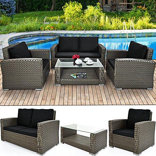 Deuba XXL Poly Rattan 4+1 Lounge Grau | 7cm dicke Sitzauflagen creme | 2 Sessel + 1 Bank | 1 Tisch...