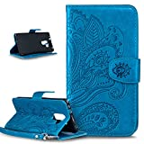 Huawei Honor 7 Case,Wallet Case for Huawei Honor 7,ikasus Embossing Henna Mandala Floral Flowers PU Leather Fold Wallet Pouch Case Premium Leather Wallet Flip Stand Credit Card Holders Case Cover for Huawei Honor 7,Mandala:Blue