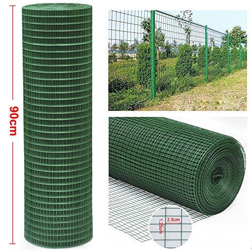 tinkertonk Fil d'acier galvanisé avec revêtement en PVC Vert en Maille Filet de clôture pour Bordure de Jardin 30M x 0.9M
