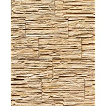 Papel pintado súperlavable con relieve aspecto piedra EDEM 1003-31 natural tipo mampuesto beige arena marrón claro