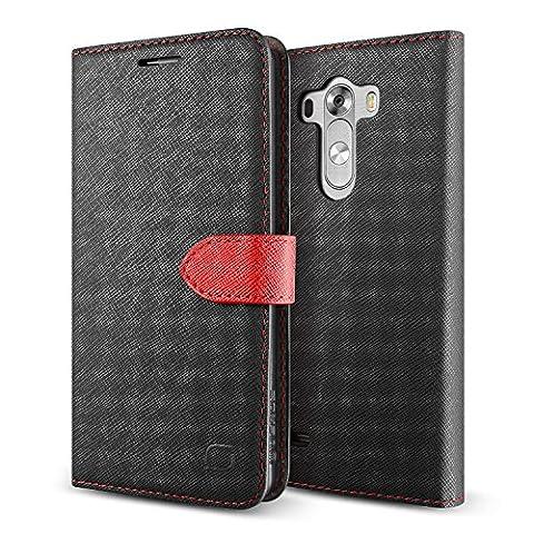 LIFIC® Étui Pochette pour LG G3   Coque de Protection avec Rábat - Refermable   Noir / Rouge   Housse Portable Portefeuille Stand Cover Case Magnetique