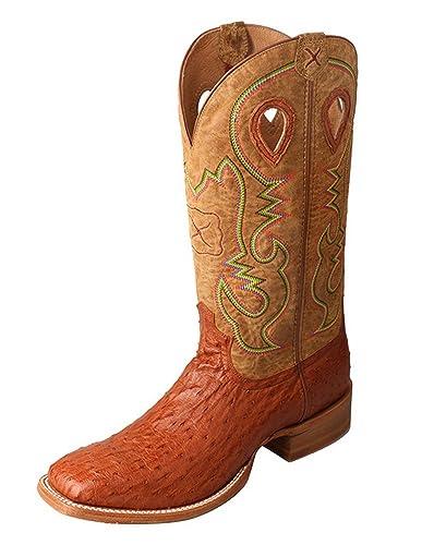 Men'S Ruff Stock Boot Color: Brandy Ostrich Neck/Arena (Mrsl037)