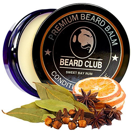 Premium Qualitäts Balsam für den Bart | Sweet Bay Rum (Süßer Bucht Rum) Bartbalsam / Beard Balm | Natürlich und Organisch | Der beste Bart Conditioner & Weichmacher, um Ihren Bart zu formen und zu stylen, während Sie Bart Juckreiz & Flakes stoppen | Ideal für Haarpflege und Wachstum