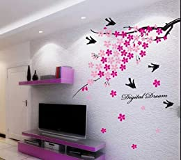 Decals Design 'Flower Branch with Birds' Wall Sticker (PVC Vinyl, 50 cm x 70 cm),Multicolour