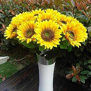 BSGP Paquete de 8 flores artificiales de girasoles decoración de 60 cm, flores artificiales de seda para el hogar, boda…