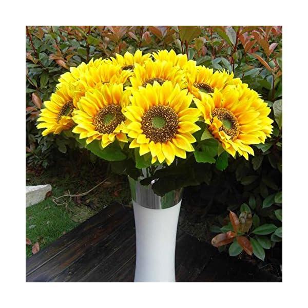 BSGP – Juego de 8 flores artificiales decorativas de girasoles de 60 cm flores artificiales de seda para decoración del…