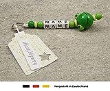 NAMENSANHÄNGER - Anhänger mit Namen  Baby Kinder Schlüsselanhänger für Wickeltasche, Kindergartentasche, Schultasche oder Rucksack mit Schlüsselring  Mädchen & Jungen Motiv Frosch in grün