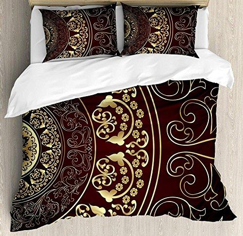 Mandala 3 Stück Bettwäsche Bettbezug Set, Vintage ethnischen asiatischen spirituellen Kosmos Muster mit wirbelnden floralen Blättern Kunstwerk, 3 Stück Tröster / Qulit Cover Set mit 2 Kissenbezügen, B -