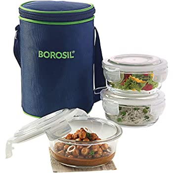 Borosil Klip N Store Microwavable Containers with Lunch Bag, 400ml, Set of 3, Transparent