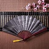 Ventagli a mano economici Pistole per gli appassionati di armi con cornice di bambù Ciondolo con nappa e borsa di stoffa Girly Ventilatore pieghevole Ventilatore cinese Decorazioni da parete Ventilat