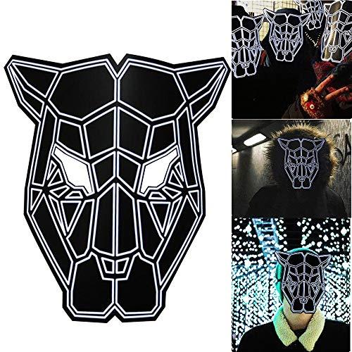 Sound Reaktive LED Halloween Masken,Saingace Sound Reactive LED Maske Tanz Rave Licht Einstellbare Maske Für Festival,Cosplay,Halloween,Kostüm,Batterie Angetrieben (M)