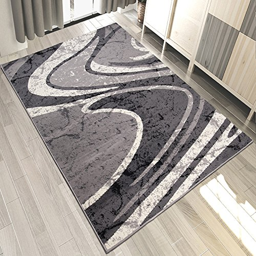 Designer Teppich Grau mit Streifen Wohnzimmer | Kurzflor TOP PREIS (200x300 cm) (Teppich Streifen Floral)
