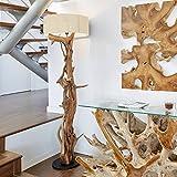Hochwertige Stehlampe Treibholz BLUMA | Designer Steh-leuchte Teakholz mit Holz-Zertifikat | Wurzelholz Unikat in Handarbeit | Höhe 180 cm | Lampenschirm:Weiß | Das Highlight für Wohnzimmer Büro