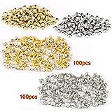 TOOGOO(R) 100pcs Remache Plata + 100 Psc Remache Dorado Con Rhinestone Del Diamante 7mm