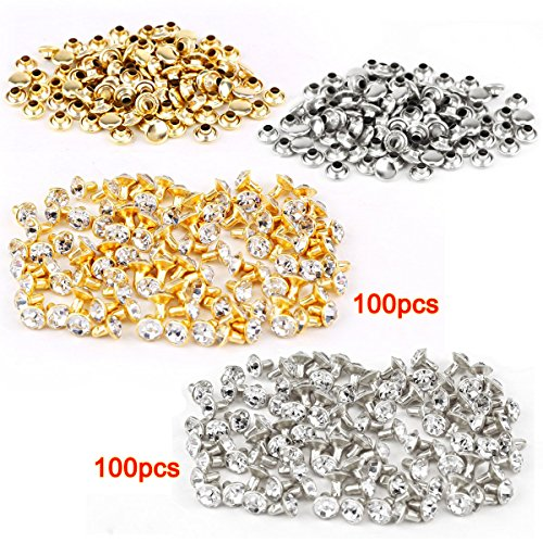 SODIAL(R) 100pcs argente + 100pcs dore Rivet avec strass diament 7mm
