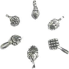 Gurjari set of 6 silver oxidised nose pin for Girls ->>NNP16
