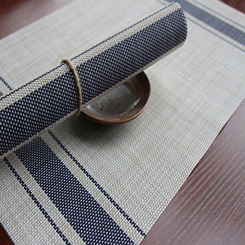 ruivya rutschsicheren schmutzabweisend Tisch MATS hitzebeständig Doppel-Streifen Tischsets 0094Stück, glas PVC, blau, 11.8*17.7in (Halloween Vinyl Tischsets)