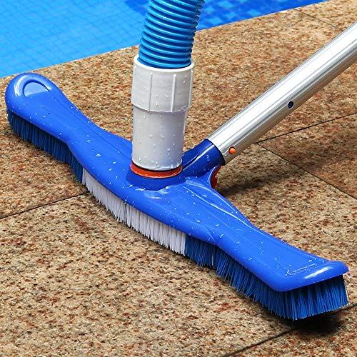 BESTEU - Cepillo para alberca y SPA de 18 Pulgadas, Combo de Cabezal de aspiradora con mangueras giratorias y cerdas de Nailon, Azul