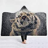 Decken für Sofa und Bett Kuscheldecke mit Kapuze Decke Tier Thema Wohndecke Tiger Löwe Wolf Hirsch Tagesdecke für Erwachsene Kinder Warm Decke Tiger2 150x200cm