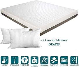 Evergreenweb Matratze, Memory Foam, 20 cm hoch, mit Kissen, mit abnehmbarem Bezug, milbendicht, doppelter Massageeffekt, für alle Retina- und Betten