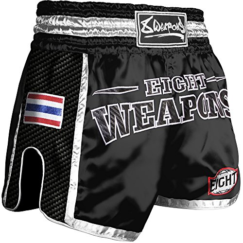 8 WEAPONS Shorts, Carbon, Black Night, Muay Thai Hosen, Short, Thaiboxhosen Größe L (Shorts Muay Thai)