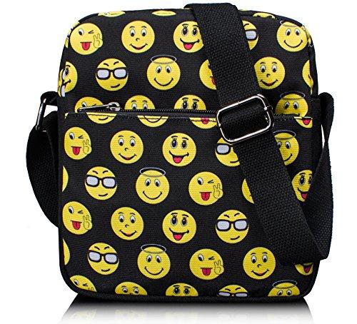 Tibes niedliche wasserdichte Schultertasche Lustige Emoji Schule Crossbody Tasche für Kinder Schwarz 1 D Schwarz(19*22*6cm)