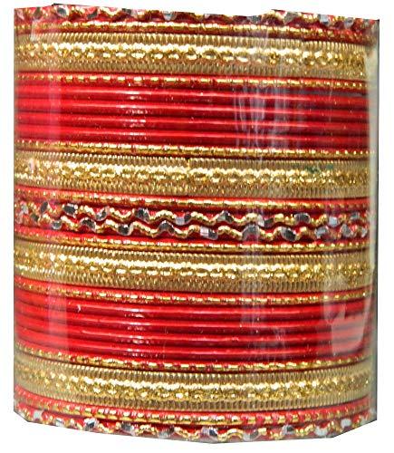 Indische Bangles 24 Armreifen Royal rot 7,0 cm mit Bindis Bollywood Sari Schmuck