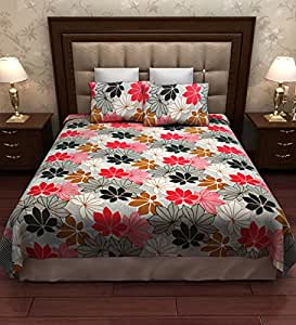 Home Candy Multi Floral Cotton Double Bed Sheet with 2 Pillow Covers - Multicolour
