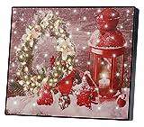 infactory Weihnachtsbilder: Wandbild Weihnachtskranz mit Laterne mit LED-Beleuchtung, 28 x 23 cm (Leinwand-Bild mit Weihnachtsmotiv)