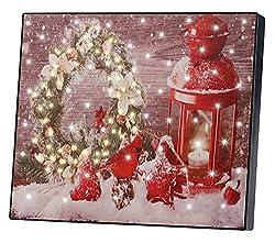 infactory Bild: Wandbild Weihnachtskranz mit Laterne mit LED-Beleuchtung, 28 x 23 cm (LED-Bilder Weihnachten Winter)