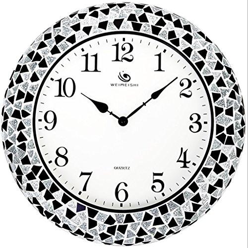 Plum open Uhr European-Style Kreative Wanduhr, Wohnzimmer 18-Zoll-Metall-Shell verzierte Wanduhr, Kunst Glas Silence Clock