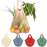 5 Stück Netz Einkaufstasche, Creatiees Wiederverwendbar Mesh Baumwolle Einkaufen Tote Handtasche, tragbar Einkaufsnetz Verans
