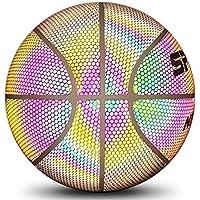 bouncevi Baloncesto holográfico Luminoso Reflectante Iluminado Flash Glow Baloncesto Interior y Exterior, Aro Regalos Juguetes para Adolescentes Adultos Arena Entrenamiento Balones de luz Nocturna