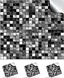 30 Black and White - Self Adhesive Mosaic Wall Tile Decals For 150mm (6 inch) Square Tiles –(TP3)- Realistic Looking Stick On Wall Tile Transfers Directly From the Manufacturer: TILE STYLE DECALS, No Middleman -- Peel and Stick on Tile to Transform your Kitchen, Bathroom – Oil-proof, Waterproof Tile Stickers, Heat Resistant Sticks on tile kitchen tiles stickers / Bathrooms Tile Stickers – (Black and White, Full Pack of 30)