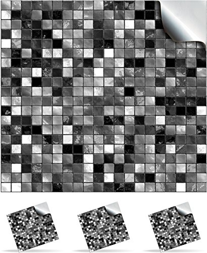 30 black and white self adhesive mosaic wall tile decals for 150mm 6 inch square tiles tp3 realistic looking stick on wall tile transfers directly